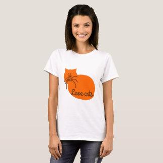Liebekatzen-Cartoonkatzen-Orangen-T - Shirt