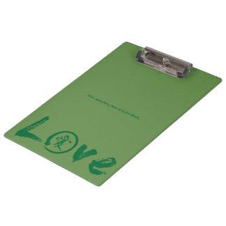Liebeklemmbretter mit grünem Kanji und enso Klemmbrett