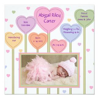 Liebenswürdige rosa Foto-Geburts-Mitteilung Quadratische 13,3 Cm Einladungskarte