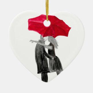 Liebepaare mit rotem Regenschirm Keramik Ornament
