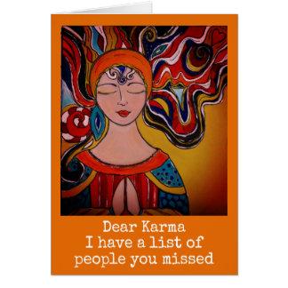Liebes Karma, Spaßkarte Zen-Meditation boho Karte