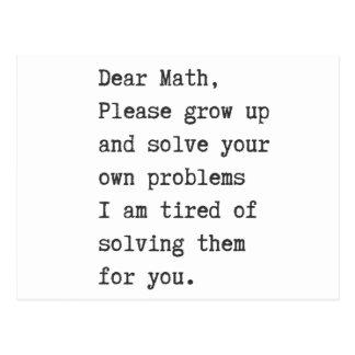 Liebes Mathe löst Ihre eigenen Probleme Postkarte
