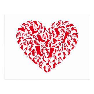 Liebeschuhe, rotes Herz mit Schuh-Silhouetten Postkarte