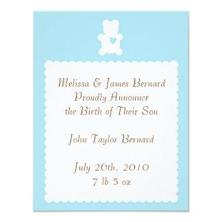 Liebeteddy-Geburts-Mitteilung - Pulver-Blau 10,8 X 14 Cm Einladungskarte