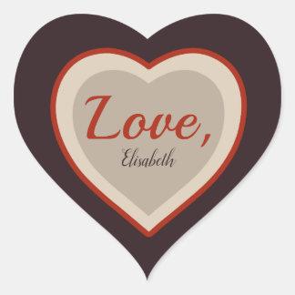 Liebeunterzeichnung Valentine elegantes retro Herz-Aufkleber