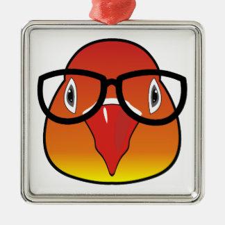Liebevogel mit Gläsern Quadratisches Silberfarbenes Ornament