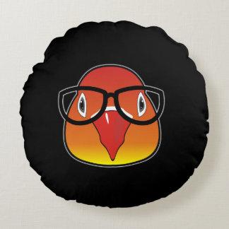 Liebevogel mit Gläsern Rundes Kissen