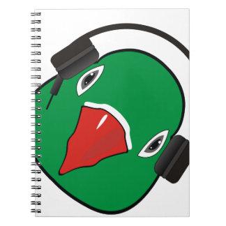 Liebevogel mit Kopfhörer Spiral Notizblock