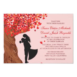 Liebevolle Paar-Initialen-Eichen-Baum-Hochzeit im 12,7 X 17,8 Cm Einladungskarte