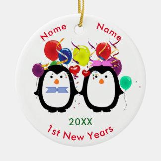 Liebevolle Pinguin-Paar-Mannes-u. Frau-1. neue Keramik Ornament