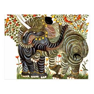 Liebevolle, verzierte Elefanten Postkarte