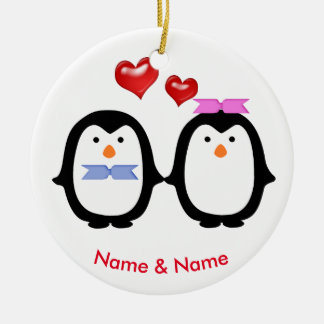 Liebevoller Pinguin-Paar-Mann u. Frau Keramik Ornament