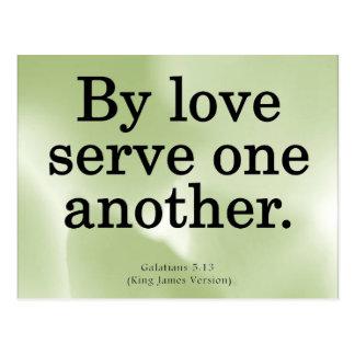 Liebevoller Service Galatians 5-13 Postkarte