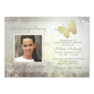 Liebevolles Gedächtnis-laden goldenes 12,7 X 17,8 Cm Einladungskarte