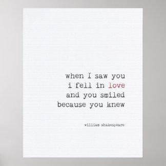 Liebezitat-Kunsttypographie Shakespeare Poster