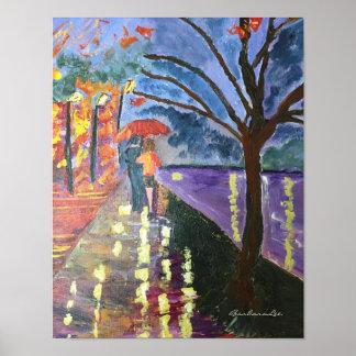 Liebhaber, die in den Regen gehen Poster