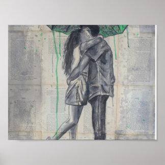 Liebhaber im Regen Poster
