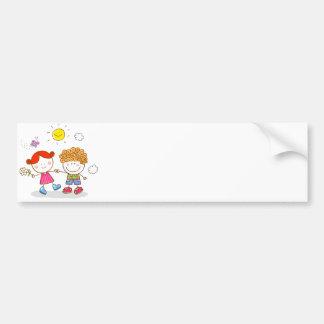Liebhaberpaar-Cartoon der Valentines kleine Kinder Autoaufkleber
