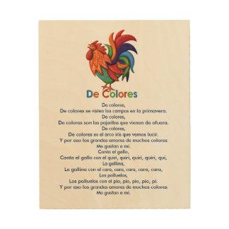 """Lied 8"""" De Colores Rooster"""" hölzerne Kunst der"""