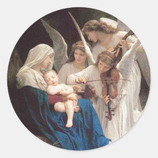 Lied der Engel, William-Adolphe Bouguereau Runder Aufkleber