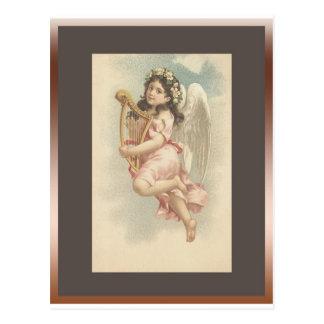 Lied - kleines Mädchen mit Harfe Postkarte