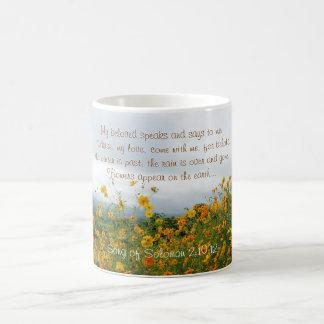 Lied von Solomon 2:10 - 12, Bibel-Vers, Blumen Kaffeetasse