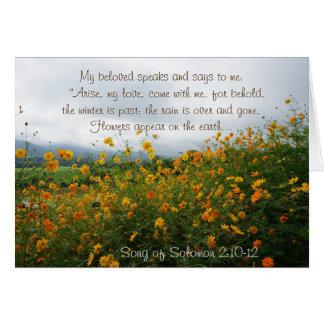 Lied von Solomon 2:10 - 12, Bibel-Vers, Blumen Karte