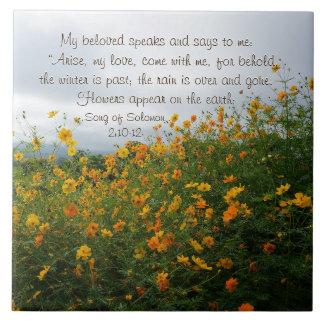 Lied von Solomon 2:10 - 12, Bibel-Vers, Blumen Keramikfliese