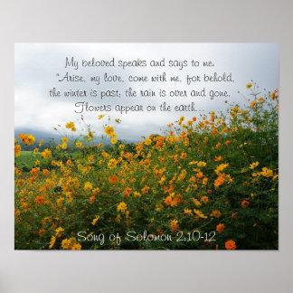 Lied von Solomon 2:10 - 12, Bibel-Vers, Blumen Poster