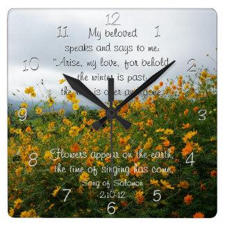 Lied von Solomon 2:10 - 12, Bibel-Vers, Blumen Quadratische Wanduhr