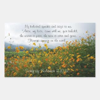 Lied von Solomon 2:10 - 12, Bibel-Vers, Blumen Rechteckiger Aufkleber