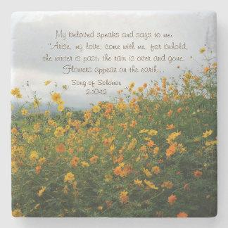 Lied von Solomon 2:10 - 12, Bibel-Vers, Blumen Steinuntersetzer