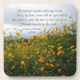 Lied von Solomon 2:10 - 12, Bibel-Vers, Blumen Untersetzer