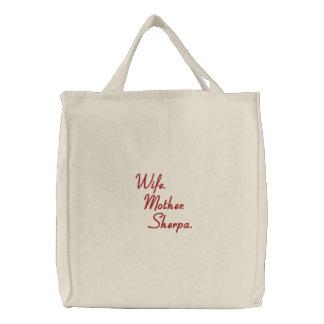 Liedchen Bag_Sherpa-style™_Wife_Mother_Sherpa Bestickte Einkaufstasche