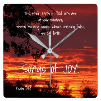 Lieder der Freude-Bibel-Vers-Wanduhr Quadratische Wanduhr
