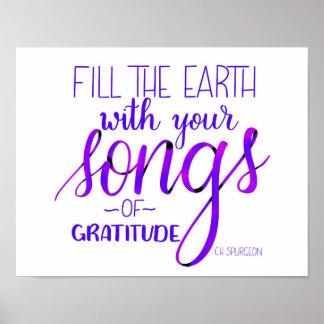 Lieder von Dankbarkeit, C.H. Spurgeon Quote, Poster