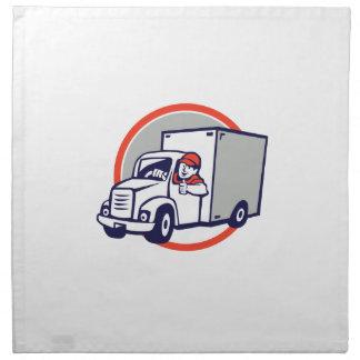 Lieferwagen-Fahrer-Daumen Up Kreis-Cartoon Stoffserviette