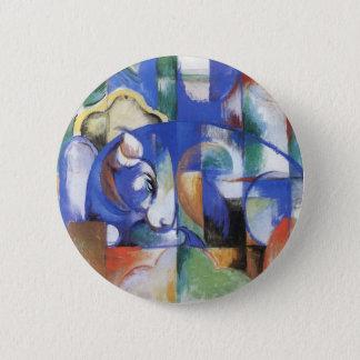 Liegenstier durch Franz Marc, Vintage Runder Button 5,1 Cm
