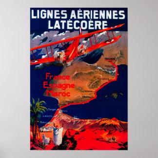 Lignes Aeriennes Latecoere Vintages Plakat