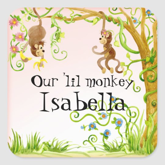 Lil Affe, Mädchen-Baby-Duschen-Aufkleber-Siegel Quadratischer Aufkleber