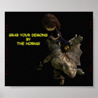Lil Emo Mädchen, ergreifen Ihre Dämonen durch die  Plakat