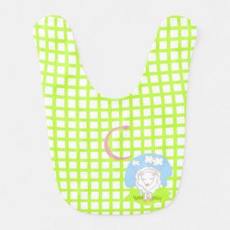 Lil Lamm-Grün-Karo-Baby-Schellfisch Babylätzchen