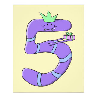 Lila 5. Geburtstags-Karikatur 11,4 X 14,2 Cm Flyer