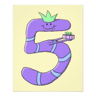 Lila 5. Geburtstags-Karikatur Personalisierte Flyer
