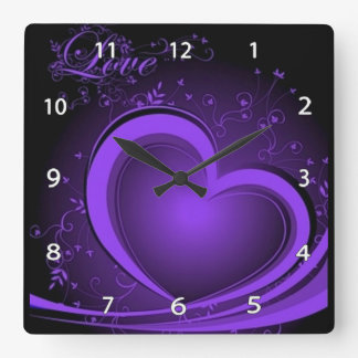 Lila abstrakte Herz-Uhr Quadratische Wanduhr
