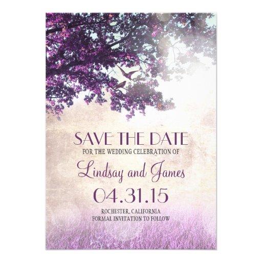 Lila alte romantische Save the Date Karten des Individuelle Einladung