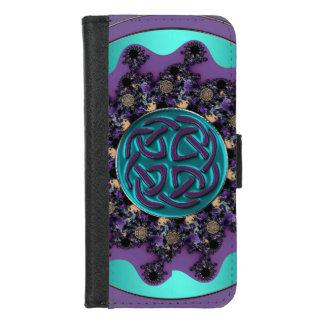 Lila Aqua-keltischer iPhone 8/7 Geldbeutel-Hülle