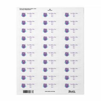 Lila aquamarine Eulen-Adressen-Etiketten