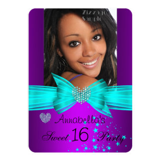 Lila aquamariner Bonbon 16 Geburtstags-Party-Diama Personalisierte Einladungskarte