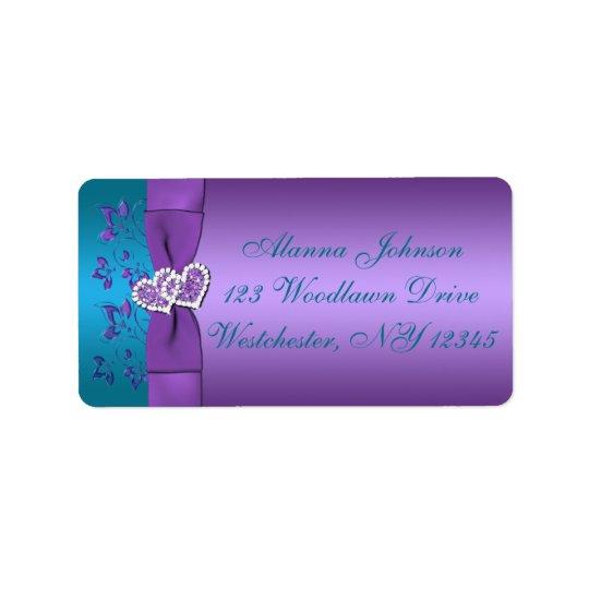 Lila, aquamarines Herz-Adressen-Etikett Adressaufkleber